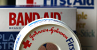 In this July 16, 2012, file photo, Johnson & Johnson products are displayed in Orlando, Fla. On Friday, Nov. 25, 2016, Johnson & Johnson said it is in early talks to buy Swiss drugmaker Actelion Pharmaceuticals Ltd. Both companies said there is no certainty that a deal will happen.