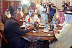 Egyptian Foreign Minister Sameh Shoukry (L), Bahraini Foreign Minister Khalid bin Ahmed al-Khalifa (2nd-L), Saudi Foreign Minister Adel al-Jubeir (2nd-R), and UAE Minister of Foreign Affairs and International Cooperation Abdullah bin Zayed Al-Nahyan (R) meet in the Egyptian capital Cairo on July 5, 2017
